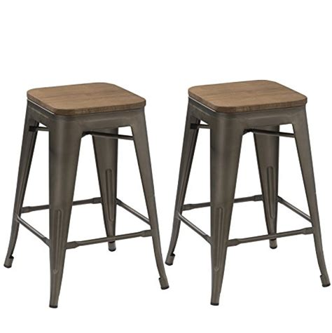 wood top bar stools btexpert 24 inch industrial antique copper distressed metal stackable tabouret dining modern
