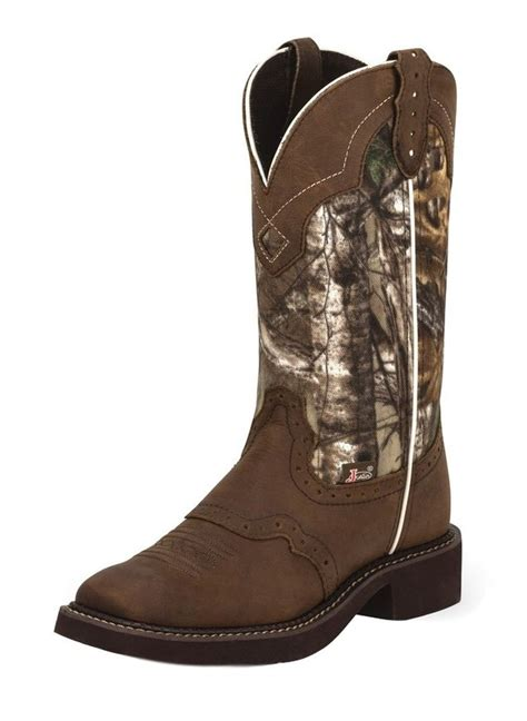 justin western boots womens cowboy leather aged bark