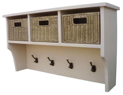 Wall Shelf With Baskets And Hooks by Wall Mountable Shelf Unit Coat Rack With Hooks And