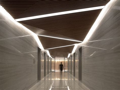 Architectural Ceiling Lights - unique lighting design for a contemporary lobby design