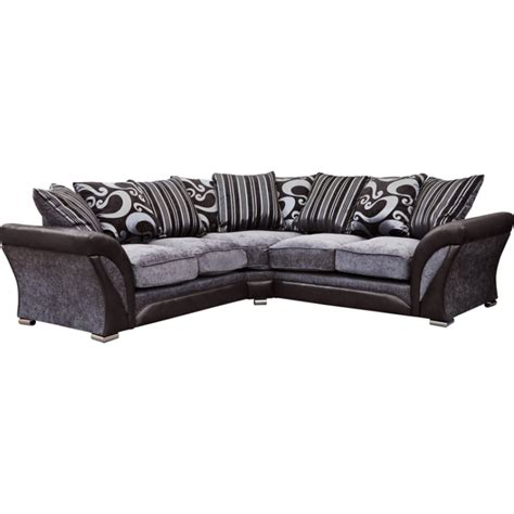 Silver Corner Sofa by Manhattan Black And Silver Swirl Fabric Corner Sofa