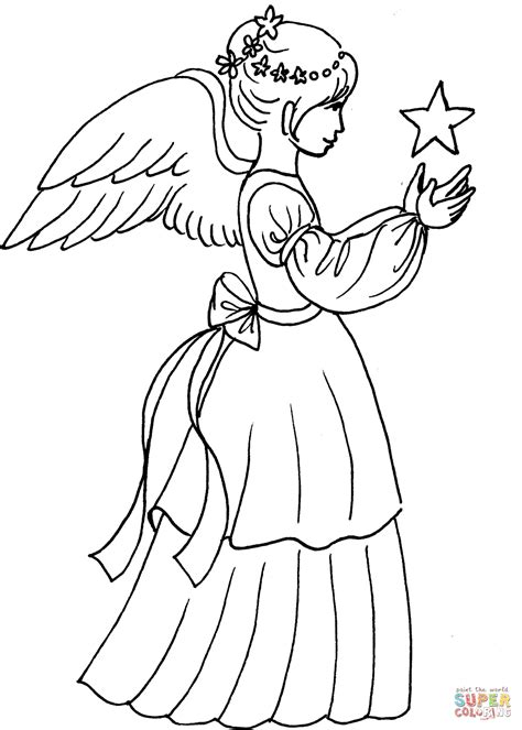 printable christmas coloring pages angels christmas angel girl with star coloring page free