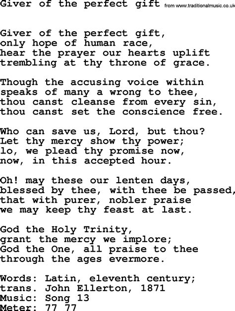 gift song lent hymns song giver of the gift lyrics midi
