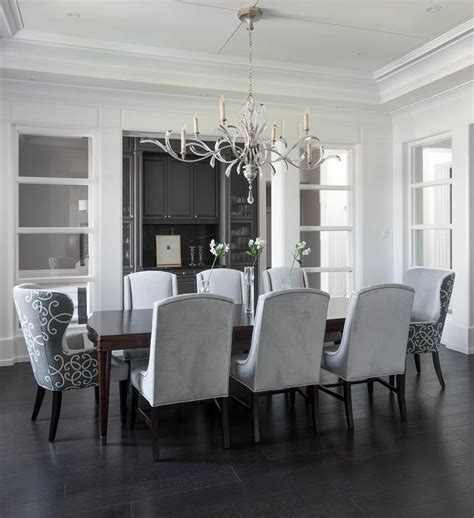 Grey Dining Room Chairs Gray Velvet Tufted Dining Chairs With Gray Marble Top Dining Table Transitional Dining Room
