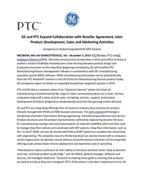 Ge And Ptc Expand Collaboration With Reseller Agreement Joint Produc Joint Product Development Agreement Template