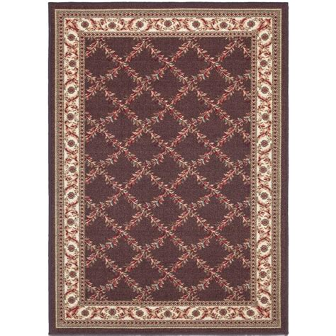 5x7 Area Rug Home Depot Ottomanson Floral Trellis Design Brown 5 Ft X 6 Ft 6 In Area Rug Oth2148 5x7 The Home Depot