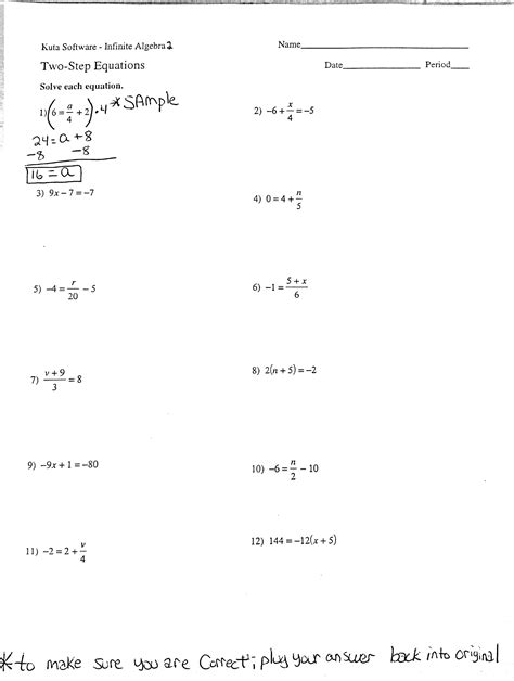 two step equations with fractions worksheet algebra 2a mr vanalstine s class