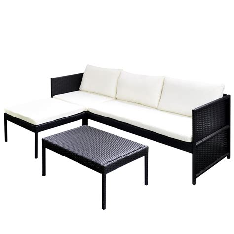 outdoor lounge sofa vidaxl black outdoor poly rattan lounge set three seat