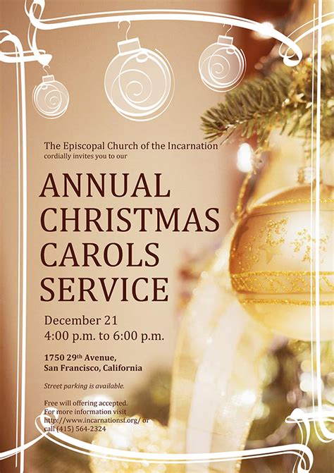 Lessons And Carols Episcopal Church Of The Incarnation San Francisco Caroling Flyer Template