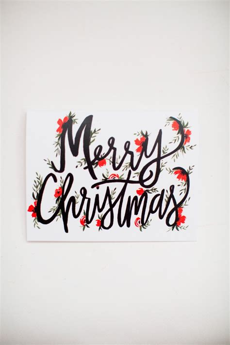 merry christmas lettering christmas cards hand lettering greeting card   single ca
