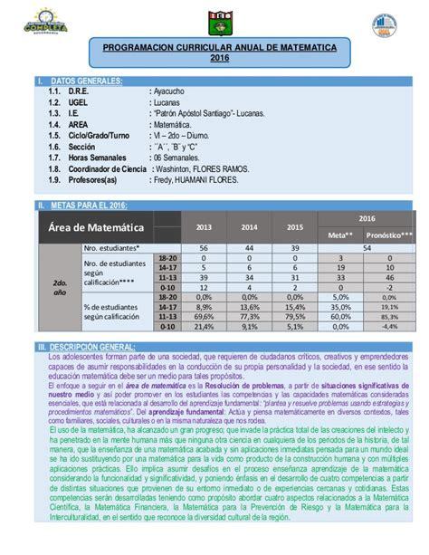 programacion curricular anual de matematica 5 secundaria 2016 programaci 243 n curricular anual 2016 2do grado