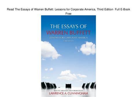 Pdf Essays Warren Buffett Lessons Corporate by Read The Essays Of Warren Buffett Lessons For Corporate
