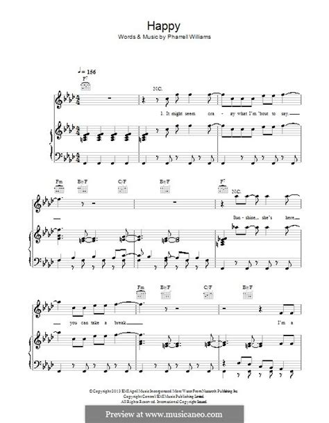 printable lyrics to happy by pharrell williams happy by p williams sheet music on musicaneo