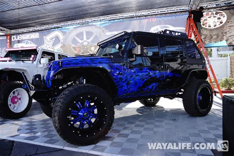 neon purple jeep 2014 sema all out road purple blue black jeep