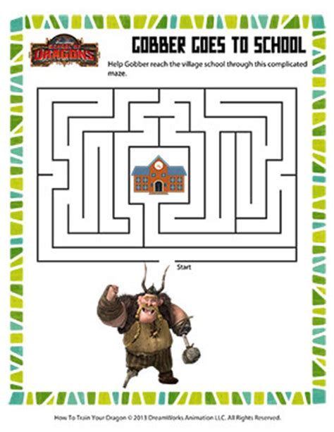 printable dragon mazes gobber goes to school printable mazes worksheet for kids