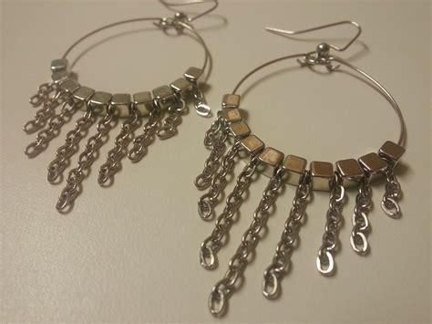 diy beaded hoop earrings easy and diy dangle chain memory wire earrings