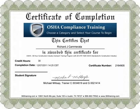 h2s certification card template blank osha certificates images