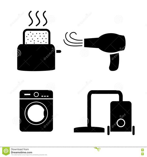 Hair Dryer X5 toaster hair dryer washing vacuum cleaner icons stock