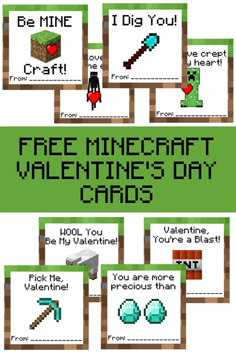 Minecraft Free Gift Card - free printable minecraft valentine s day cards a grande life