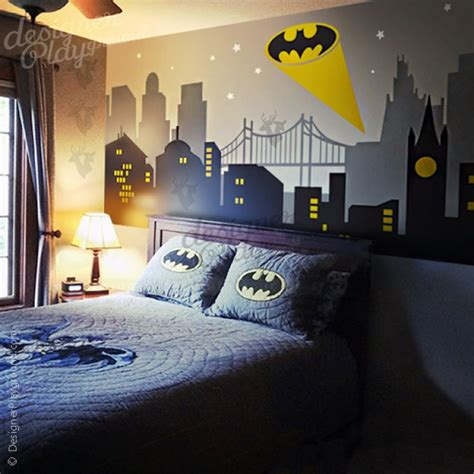 batman decor for room gotham city with batman light wall decal