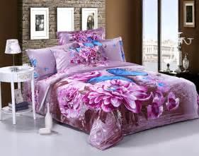 3d purple floral blue butterfly cotton bedding comforter