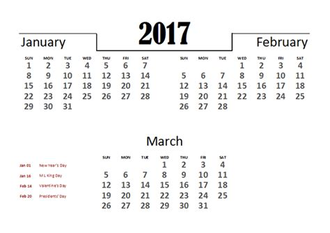 2017 excel quarterly calendar template free printable