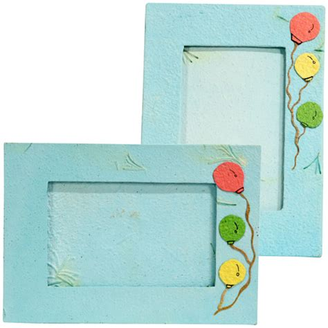 Handmade Paper Photo Frames Designs - handmade blue paper photo frame with balloon designs from