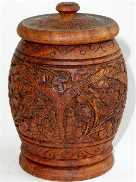 Wooden Spice Jars Carved Spice Jar Kashmir Walnut Wood Wooden Trinket