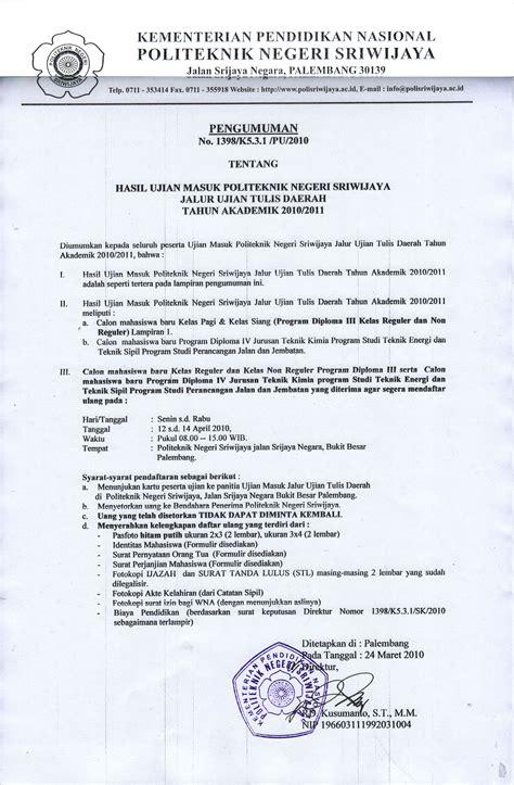 Kumpulan Contoh Surat Instruksi by Pengumuman Hasil Ujian Tulis Daerahpolsri Politeknik