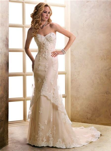 beaded lace wedding dress slim a line sweetheart chagne beaded lace wedding dress