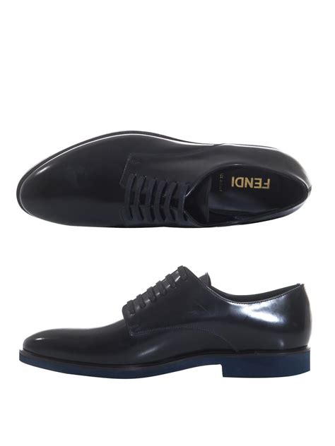fendi leather marcello derby shoes in black for lyst
