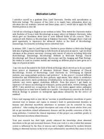 motivation letter gut flora gastrointestinal tract