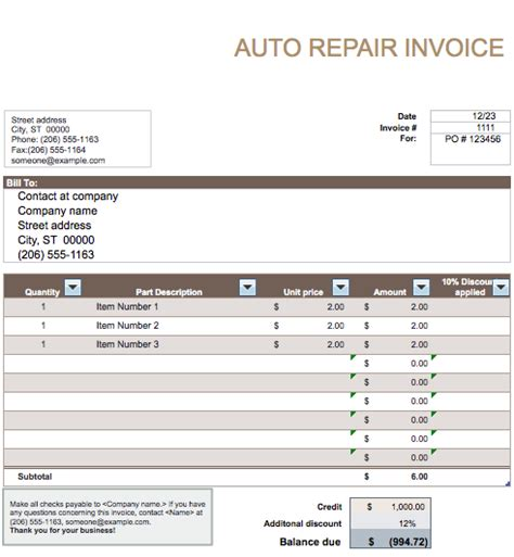 Auto Repair Invoice Template Word Invoice Exle Auto Repair Receipt Template Free