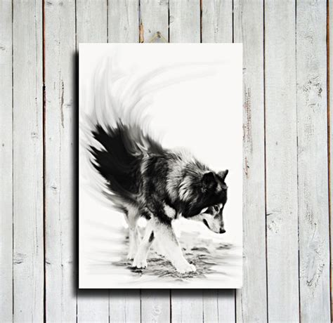 wolf black and white wolf decor 16x24 canvas wolf