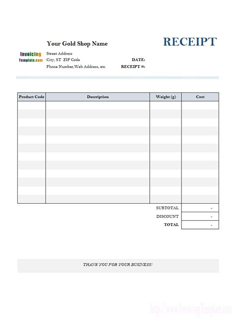 receipt templates receipt template for gold shop 1