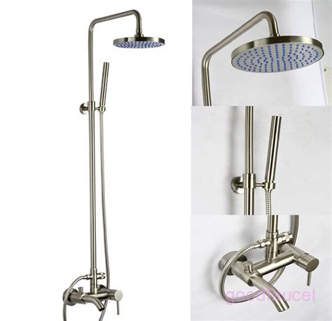 Brushed Nickel Tub And Shower Faucet Set by Brushed Nickel Shower Decorative Kitchen Cabinet