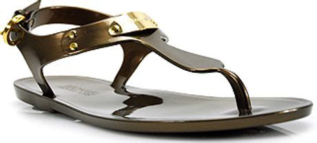 michael kors plate jelly sandals bronze michael michael kors mk plate jelly bronze rubber jelly