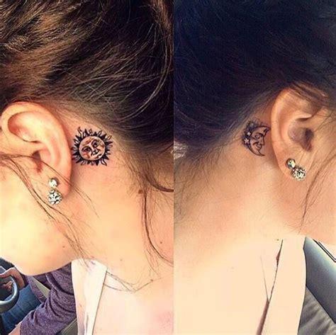 couple ear tattoo 99 moon tattoos that will illuminate your imagination