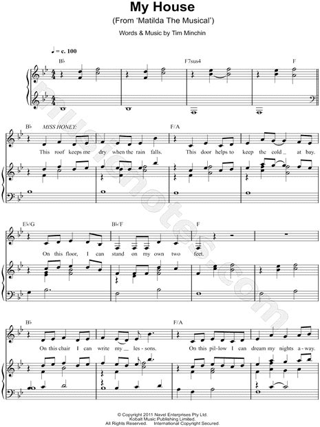 trumpet house music quot my house quot from matilda the musical sheet music in bb