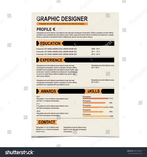 resume template cv creative background vector stock vector 180703055