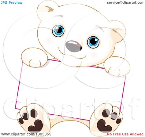 clipart of a cute baby polar bear cub sitting and holding