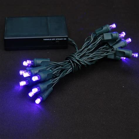 purple 20 light battery operated christmas lights on green