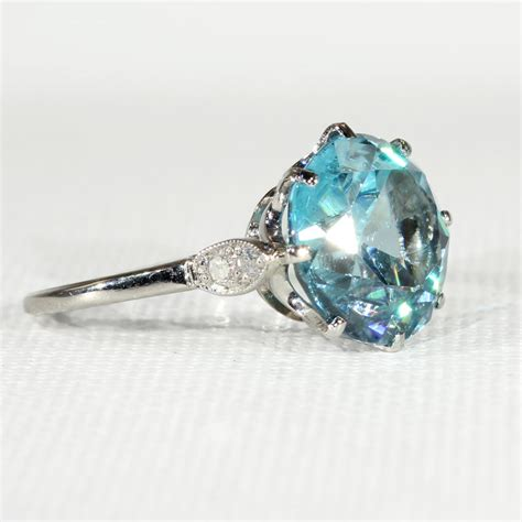 vintage blue zircon and ring in platinum c 1925