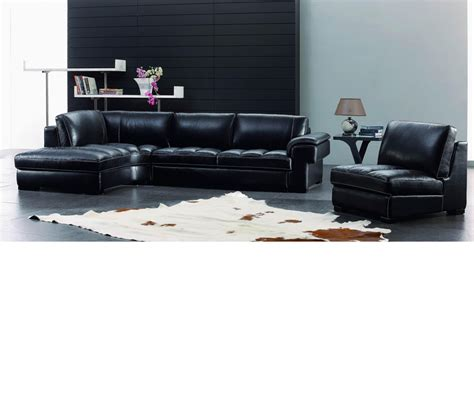 Black Leather Sofa Modern Dreamfurniture Sbo3999 Modern Black Leather Sectional Sofa Set