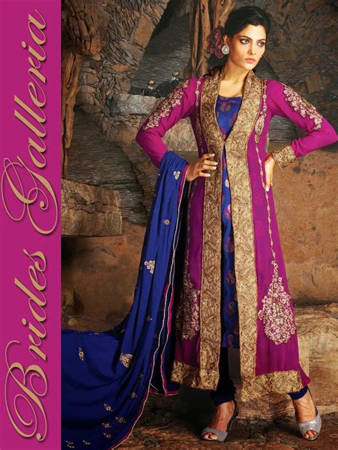 indian fashion salwar kameez saree sari sarees saris magenta pure georgette churidar kameez designer sarees