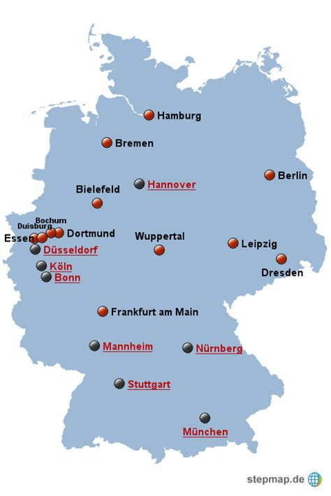 Deutsches Büro Grüne Karte Formular by Gro 223 St 228 Dte Ab 300 000 Einwohner Melaniek Landkarte