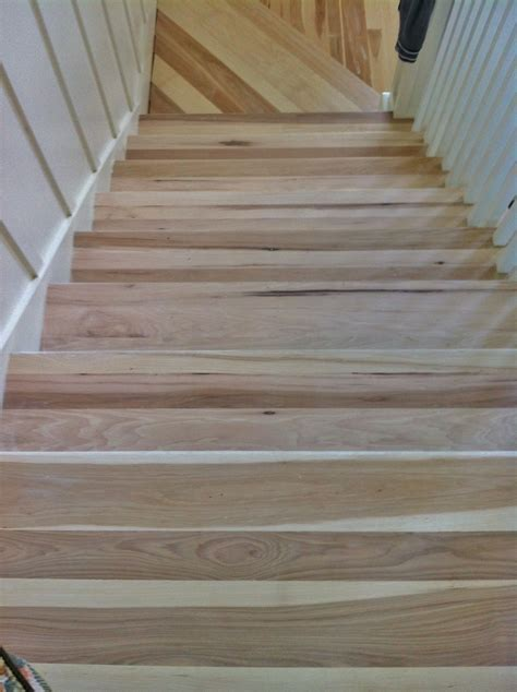 Hickory stair treads before they were stained Dark Walnut