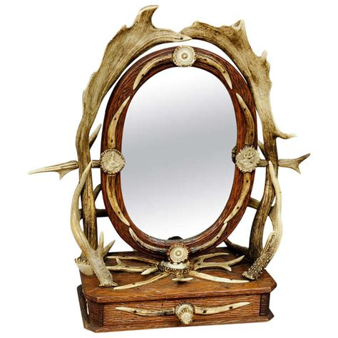 Antique Wood Vanity With Mirror by Antique Carved Wood Vanity Mirror With Antler Decorations