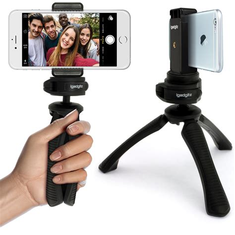 Promo Universal Mini Tripod Stand For Smartphone Np 71o B igadgitz pt310 mini table top stand tripod grip stabilizer universal smartphone holder mount