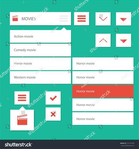 html design drop down menu style flat ui kit design menu stock vector 214147399